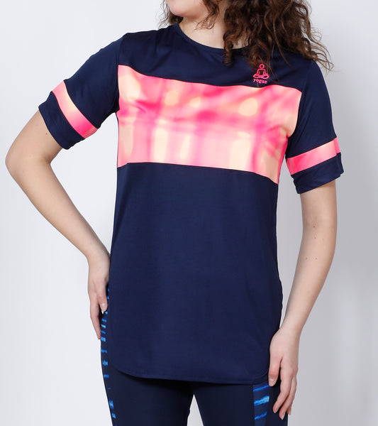 Navy Orange & Pink Long T-Shirt