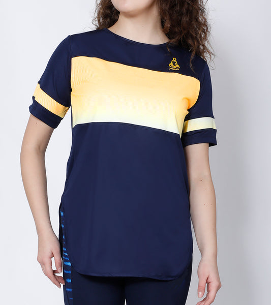 Navy Yellow Striped Long T-Shirt