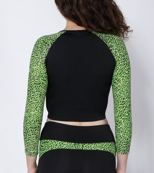 Neon Black Crop Zipper