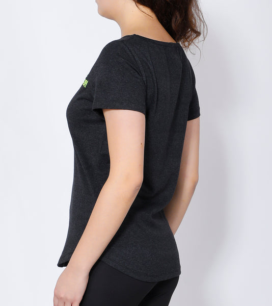 Anthracite Curved-Hem Cotton T-Shirt