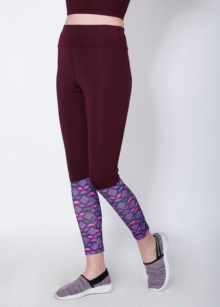 Wine Red Printed 2Tone Tights
