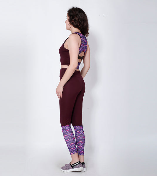 Shop The Look - Compression Top + Leggings - Wine Red