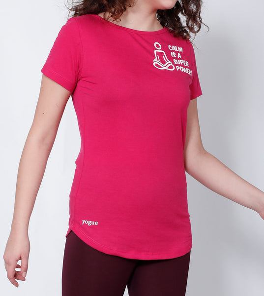 Pink Curved-Hem Cotton T-Shirt