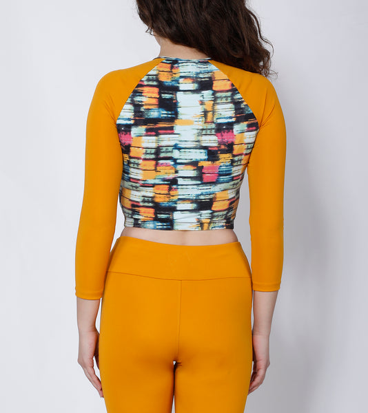 Mustard Trance Crop Zipper