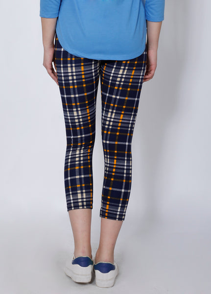 Navy Yellow Checked 7/8th tights