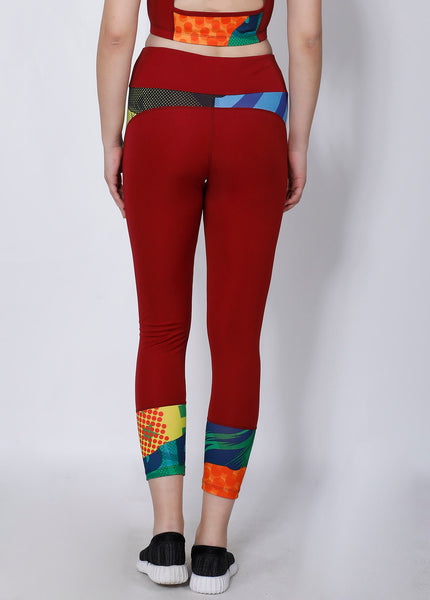 Shop The Look - Crop Zipper + Leggings - Red Abstract
