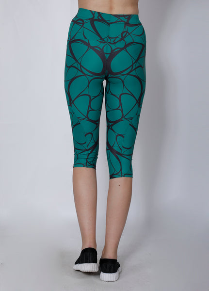 Green & Black Abstract Capris