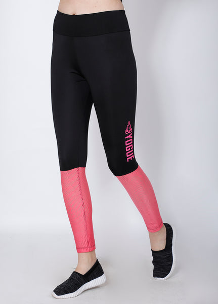Shop The Look - Compression Top + Leggings - Black Pink Mesh