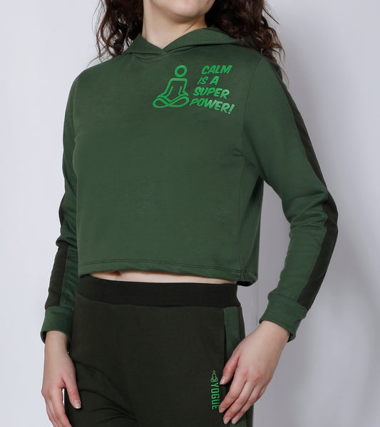 Green Superpower Crop Hoodie