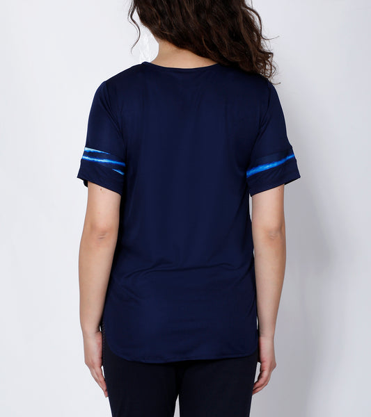 Navy Seawaves Long T-Shirt