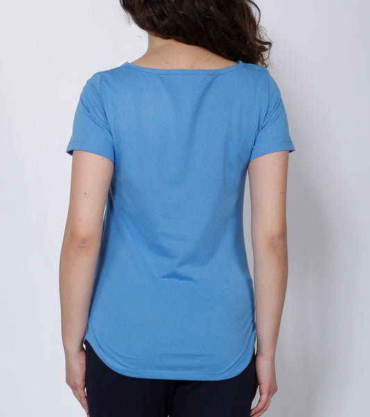 Sky Blue Curved-Hem Cotton T-Shirt