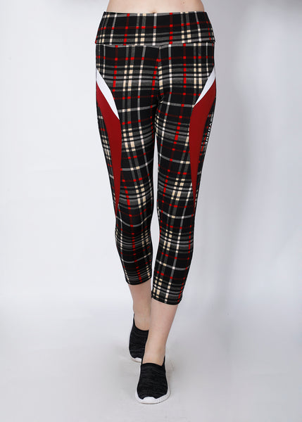 Black Red Checked 7/8th tights