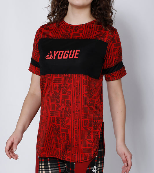 Red Aztec Long T-Shirt