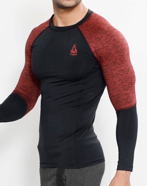 Charcoal Red Texture Full Sleeve Compression