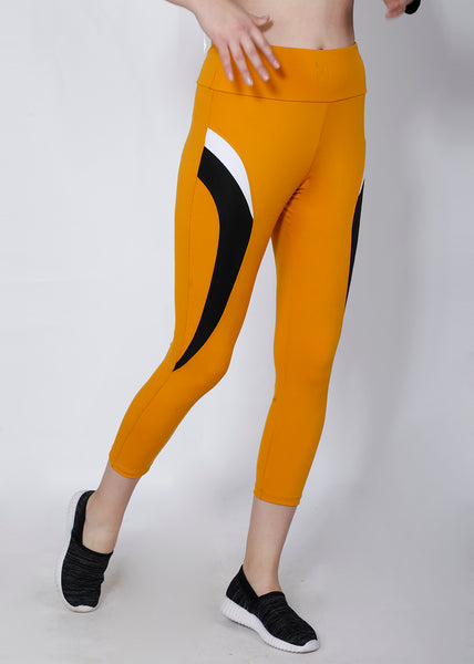 Mustard Black 7/8th tights