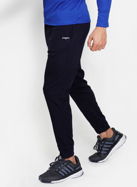 Solid Navy Slim Fit Trackpants