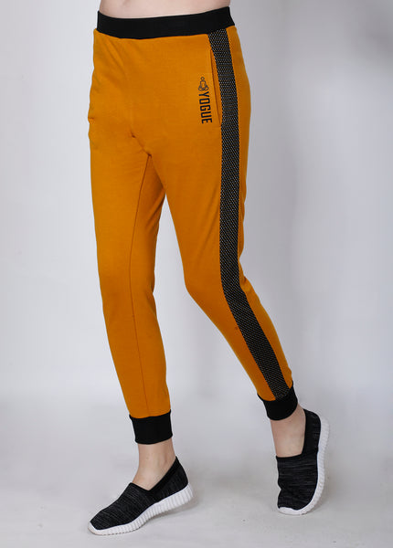 Mustard Joggers with Black Stripes