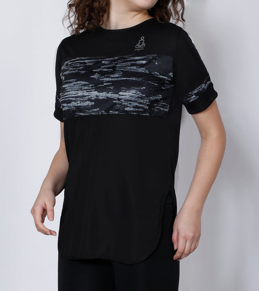 Black Silver Long T-Shirt