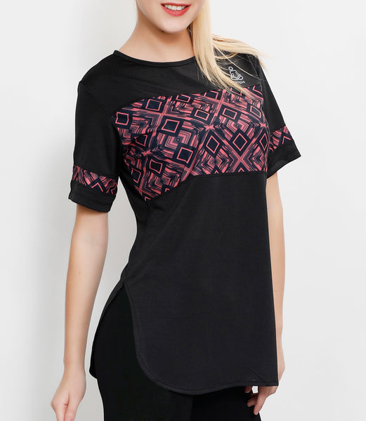 Charcoal Pink Squares Long T-Shirt