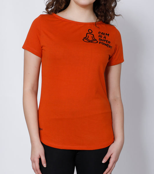 Orange Curved-Hem Cotton T-Shirt