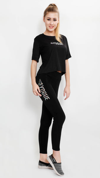 Black Tights with Glitter Logo