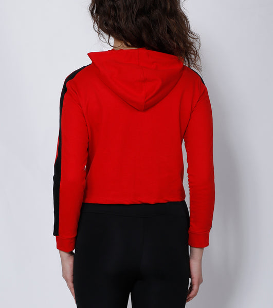 Red Superpower Crop Hoodie