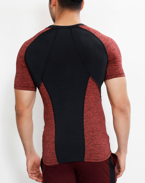 Charcoal Red Texture Compression T-Shirt
