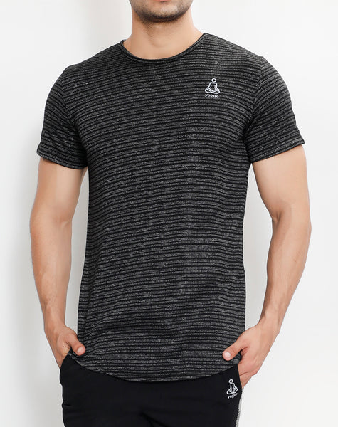 Black Grey Stripes Roundneck T-Shirt
