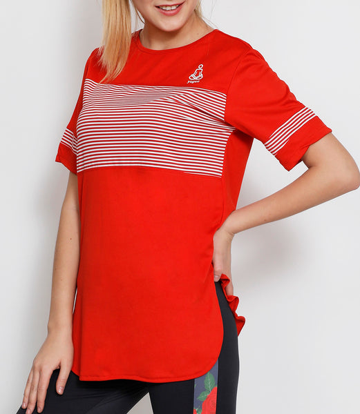 Red & White Stripes Long T-Shirt
