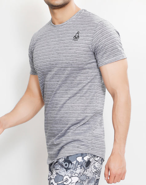 Sky Grey Stripes Roundneck T-Shirt