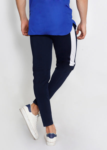 Navy Blue & White Men's Running Tights