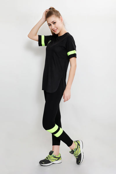 Black Lemon Stripes Long T-Shirt
