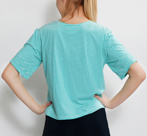 Green Stripes Crop Top