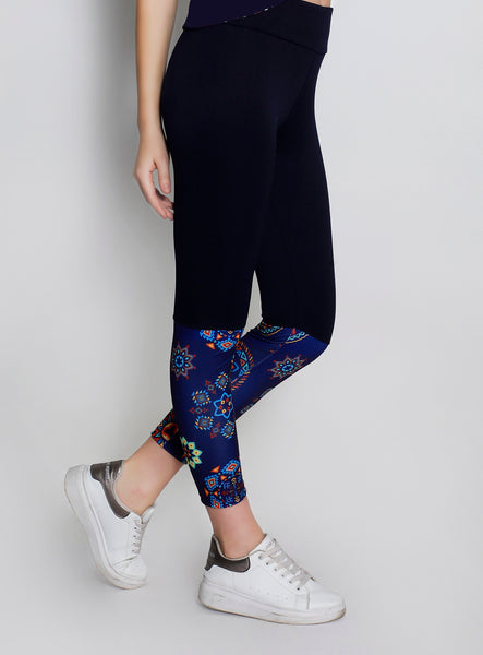 Navy Rangoli 2Tone Tights