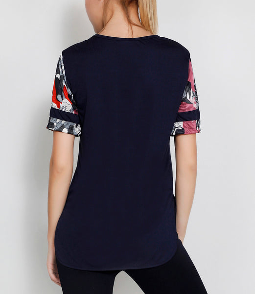 Navy Abstract Long T-Shirt
