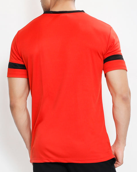Red & Black V-Neck T-Shirt