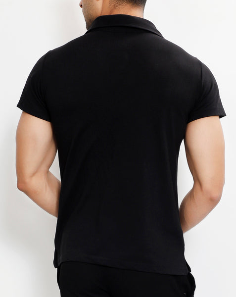 Black Tricolor Premium Cotton Polo