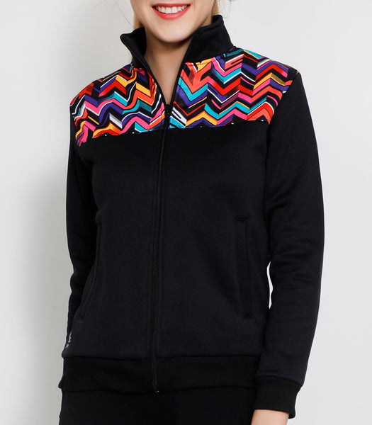 Black Zigzag Slim Fit Jacket