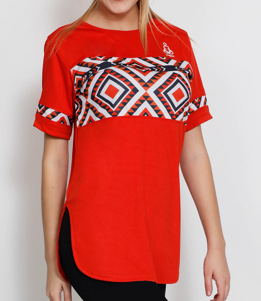 Red Zigzag Long T-Shirt
