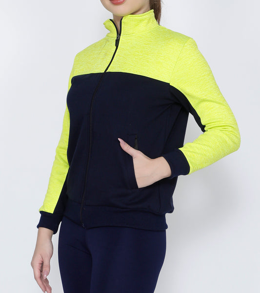 Navy Lime Slim Fit Jacket