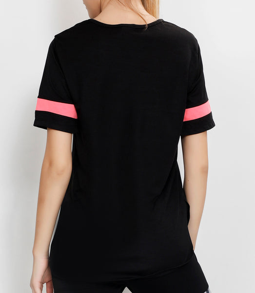 Black Long T-Shirt with Pink Logo