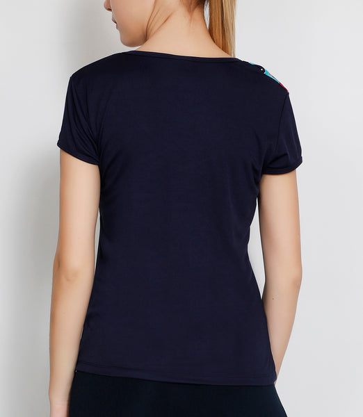 Navy Pink Oblique T-Shirt