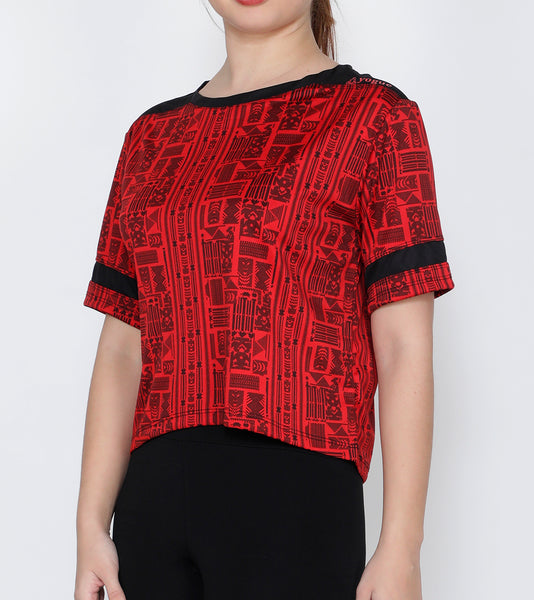 Red Aztec Crop Top