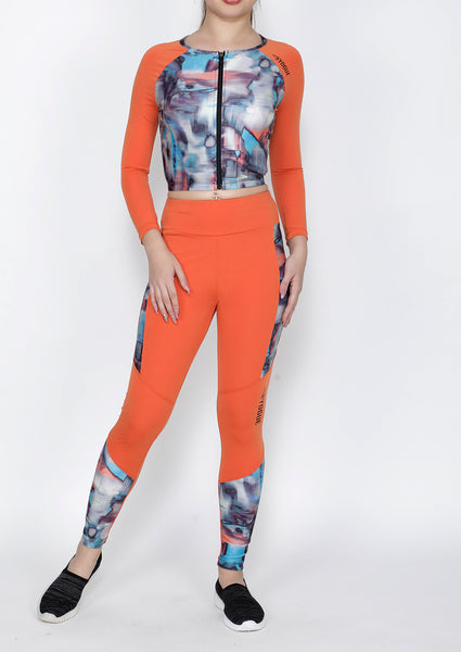 Shop The Look - Crop Zipper + Leggings - Orange Hazy