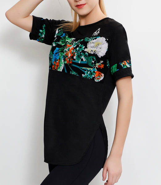 Black Floral Long T-Shirt