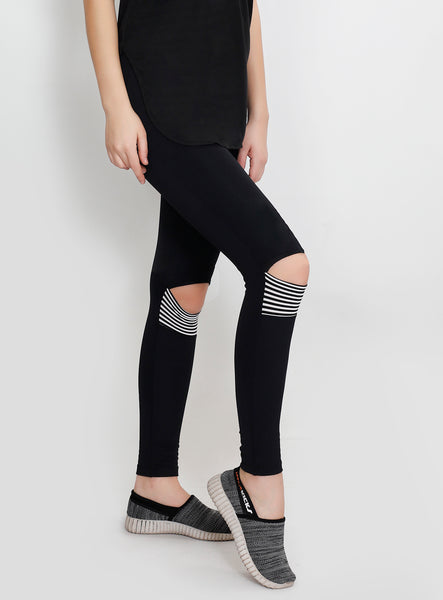 Black Knee-Slit Leggings