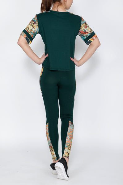 Shop The Look - Crop Top + Tights - Green Colormix