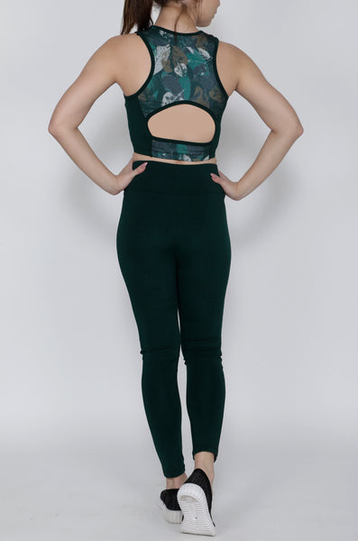 Shop The Look - Compression Top + Tights - Green Leafy