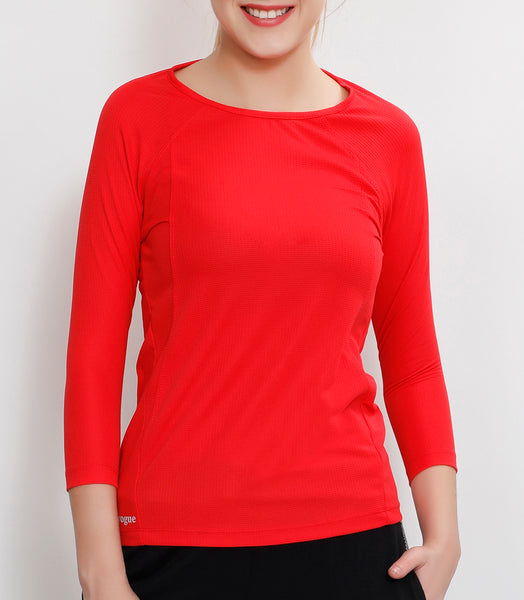 Red Quarter Sleeves Top