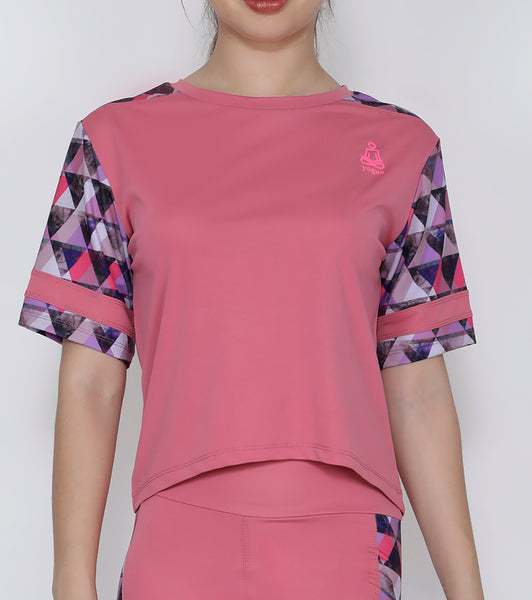 Pink Triangles Crop Top